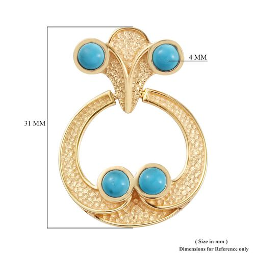 Arizona Sleeping Beauty Turquoise Earrings in 14K Gold Overlay Sterling Silver 2.25 Ct, Silver wt 7.18 Gms