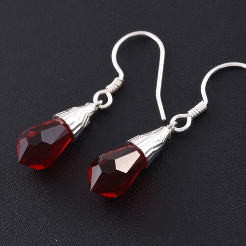 J Francis Crystal From Swarovski - Light Siam Crystal Drop Hook Earrings in Rhodium Plated Sterling Silver.
