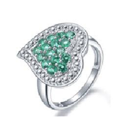 AAA Kagem Zambian Emerald (Rnd) Heart Ring in Rhodium Overlay Sterling Silver