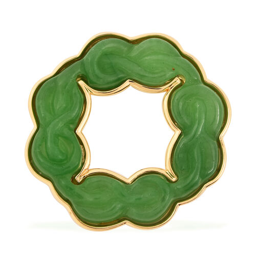 20 Ct Green Jade Infinity Braid Circle Pendant in Gold Plated Sterling Silver