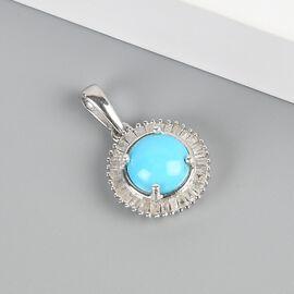 Arizona Sleeping Beauty Turquoise and White Diamond Halo Pendant in Platinum Overlay Sterling Silver