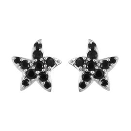 Boi Ploi Black Spinel (Rnd) Star Fish Earrings (with Push Back) in Platinum Overlay Sterling Silver