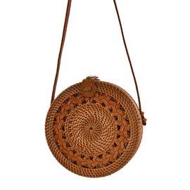 Designer Inspired - Handwoven Brown Colour Round Rattan Shoulder Bag
