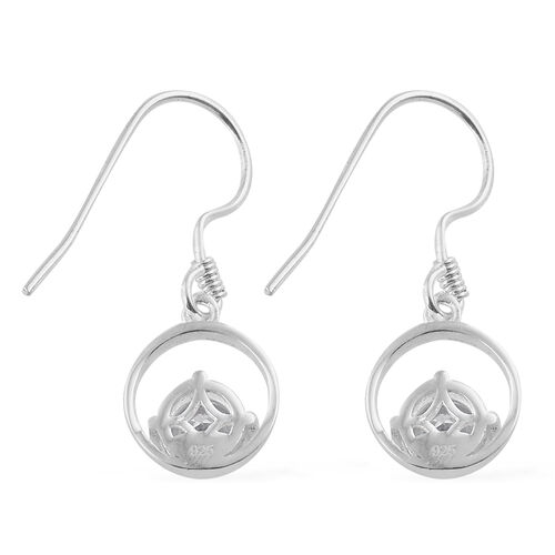 J Francis - Sterling Silver (Rnd) Dangle Hook Earrings Made With SWAROVSKI ZIRCONIA