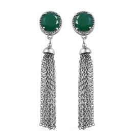 6.5 Ct Verde Onyx Tassel Earrings in Platinum Plated Sterling Silver 4.55 Grams