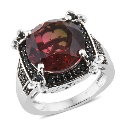 Finch Quartz (Rnd 6.90 Ct), Boi Ploi Black Spinel Ring in Platinum Overlay With Black Plating Sterli
