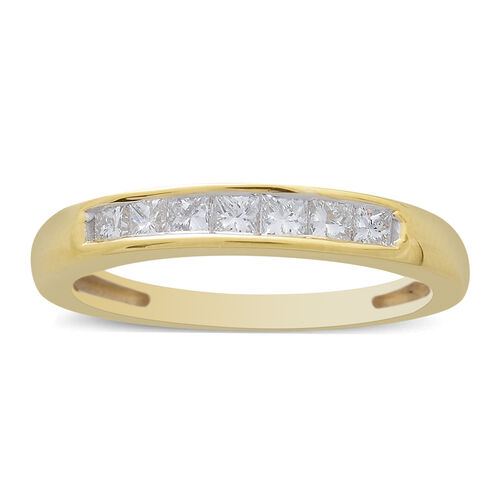 ILIANA 18K Y Gold IGI Certified Princess Cut Diamond (SI/G-H) 7 Stone Band Ring 0.500 Ct. Gold wt 3.67 Gms.