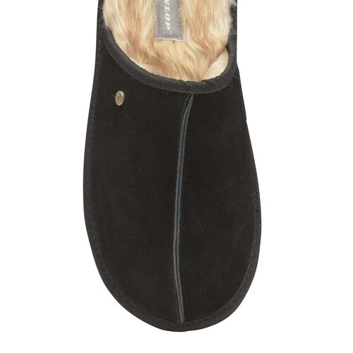 Dunlop Real Suede Memory Foam Fur Lined Mule Slippers (Size 8) - Black