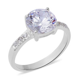 ELANZA Simulated Diamond (Rnd) Ring (Size O) in Sterling Silver