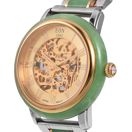 FATHER`S DAY DEAL - EON 1962 Green Hand Carved Jade Japanese Skeleton Movement Water Resistant Watch  82.65 Ct