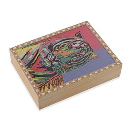 Wooden Jewellery Box with Hand-painted Gemstone Tiger (Size 20.3x15.2x5 Cm) with Red Velvet Lining -