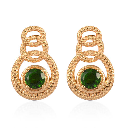 Russian Diopside Earrings (with Push Back) in 14K Gold Overlay Sterling Silver 1.50 Ct, Silver wt 5.