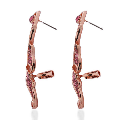 Pink Austrian Crystal Earrings in Rose Gold Tone