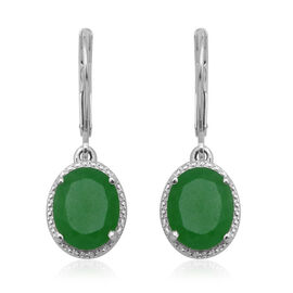 Green Jade (Ovl 10x8 mm) Lever Back Earrings in Sterling Silver 4.800 Ct.