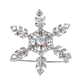 Simulated Mystic White Crystal and White Austrian Crystal Snowflake Brooch