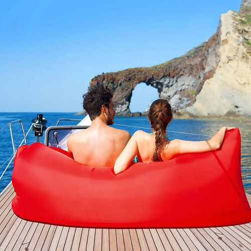 Self Inflating Air Lounger with Carry Pouch (Size 230x70 Cm) - Red