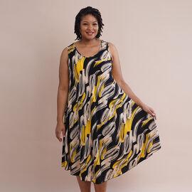 JOVIE 100% Viscose Printed Pattern Sleeveless Dress (Size 60x112Cm) - Yellow and Black