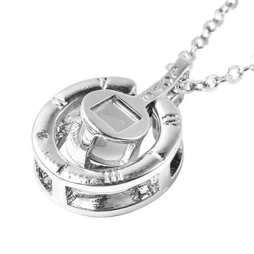 I Love You in Different Languages Projection Necklace with Chain (Size 20 with 2.5 inch Ext.) with Simulated Diamond in Silver Tone