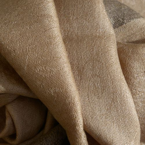 100% Cashmere Wool Beige Colour Self Pattern Shawl (Size 200x70 Cm)