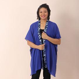 JOVIE Chiffon Kimono with Leopard Printed Border (Size 80x85cm) - Blue