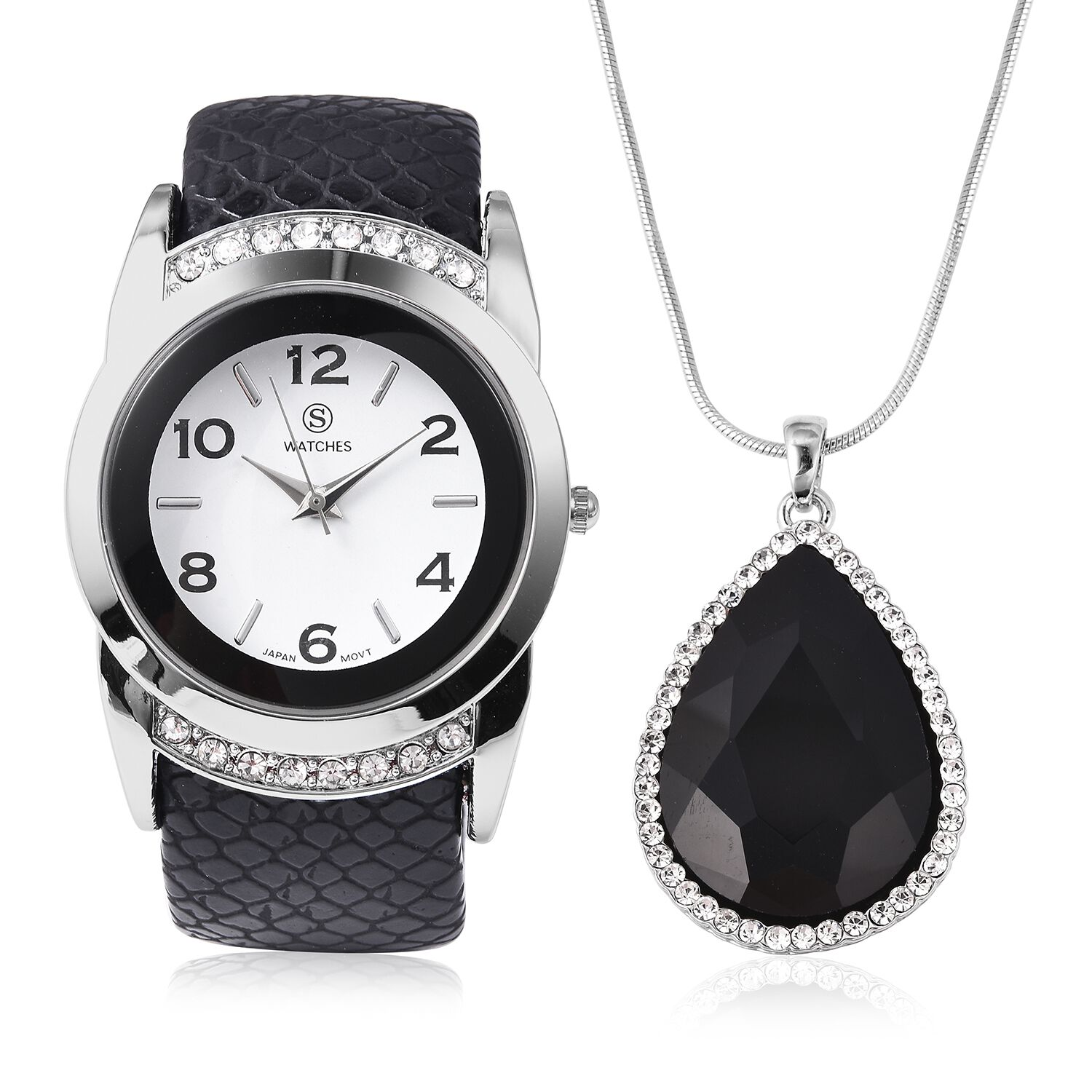 2 Piece Set STRADA Japanese Movement Water Resistant Bangle Watch with Simulated Black Spinel and White Austrian Crystal Pendant With Chain in Silver