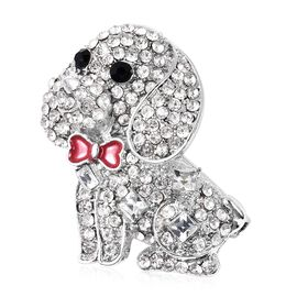 Simulated Diamond (Sqr), Black and White Austrian Crystal Enamelled Dog Brooch or Pendant in Silver