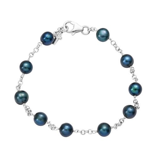 Freshwater Peacock Pearl Station Bracelet in Sterling Silver