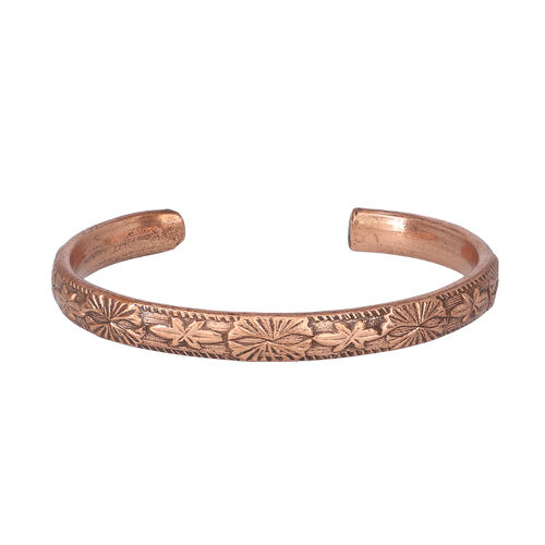 Antique Copper Embossed Cuff Bangle (size 6.5)