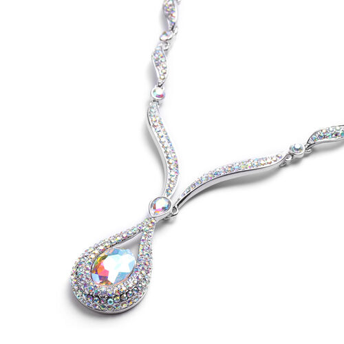 Simulated Mercury Mystic Topaz and Simulated Mystic White Crystal Necklace (Size 21 with Extender) in Silver Tone