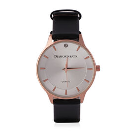 DIAMOND & CO LONDON- Diamond Studded Watch with Black Genuine Leather Strap and Rose Gold Dial