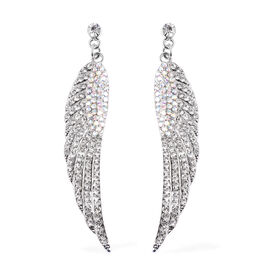 Angel Wing- Simulated AB and White Austrian Crystal Earrings (with Push Back)
