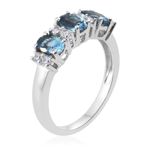9K White Gold AA Santa Maria Aquamarine (Ovl), Natural Cambodian Zircon Ring 1.500 Ct.