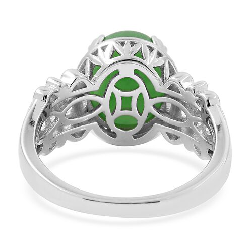 Green Jade (Ovl 12x10), Natural White Cambodian Zircon Ring in Rhodium Overlay Sterling Silver 6.750 Ct.
