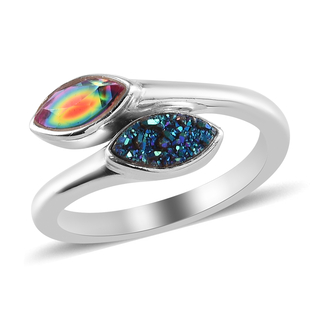 Sajen Silver ILLUMINATION Collection -  Drusy Forest and Doublet Quartz Hollow  Ring in Rhodium Over