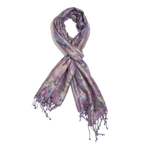 SILKMARK - 100% Superfine Silk Purple, Blue and Multi Colour Paisley Pattern Jacquard Jamawar Scarf