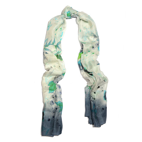 100% Mulberry Silk Green, White and Multi Colour Leaves Pattern White Colour Scarf (Size 180x100 Cm)