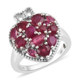 GP 3 Carat African Ruby and Multi Gemstone Heart Ring in Platinum Plated Silver