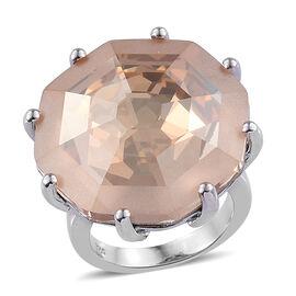 J Francis - Crystal From Swarovski Golden Shadow Crystal (Hexagon 23 mm) Ring in Platinum Overlay St