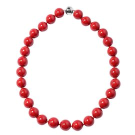 Coral Colour Shell Pearl Beaded Necklace with Magnetic Lock in Rhodium Plated Silver 21 Inch