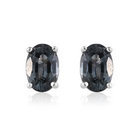 1 Carat AA Blue Spinel Solitaire Stud Earrings in 9K White Gold