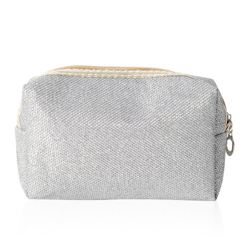 Set of 2 - Silver Colour Water Resistant Cosmetic Bags with Multi Functional (Size 18x10x6 and 20x12.5x7.5 Cm)
