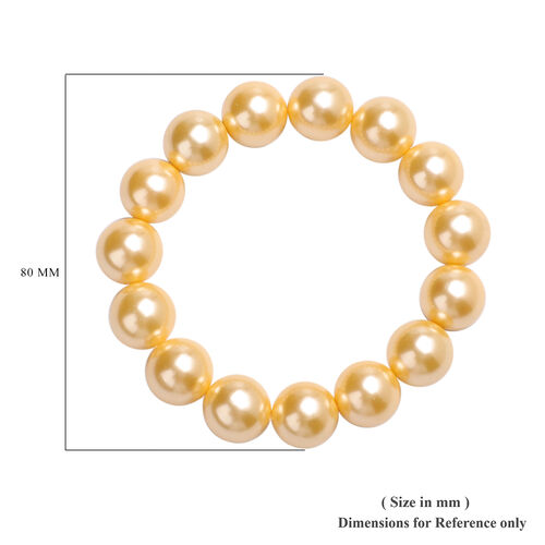 2 Piece Set - Golden Shell Pearl Beaded Stretchable Bracelet (Size 7) and Earrings (with Push Back) in Rhodium Overlay Sterling Silver