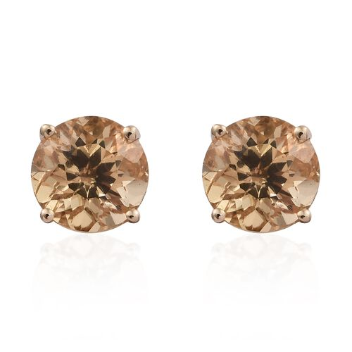 9K Yellow Gold AAA Imperial Topaz (Rnd) Stud Earrings (with Push Back) 2.000 Ct.