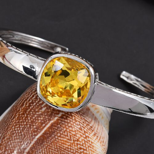 J Francis - Crystal from Swarovski Light Colorado Topaz Crystal (Cush 18x18 mm) Cuff Bangle (Size 7.5) in Platinum Plated
