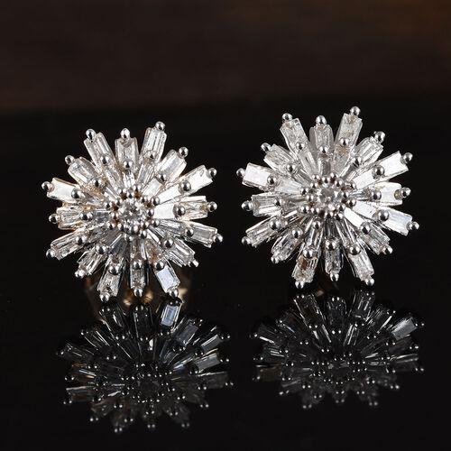 0.50 Ct Diamond Snowflake Stud Earrings in 9K Yellow Gold SGL Certified I3 GH