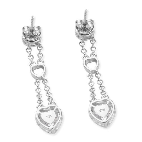 J Francis - Platinum Overlay Sterling Silver (Hrt and Rnd) Earrings (with Push Back) Made with SWAROVSKI ZIRCONIA 1.98 Ct.