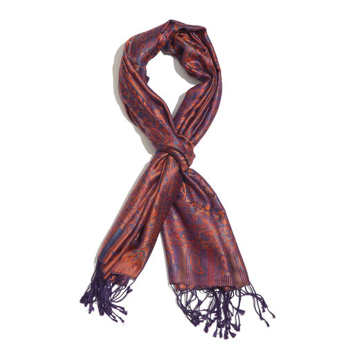 SILK MARK - 100% Superfine Silk Orange, Purple and Multi Colour Jacquard Scarf with Fringes (Size 18