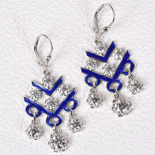 J Francis Platinum Overlay Sterling Silver Enamelled Dangle Lever Back Earrings Made with SWAROVSKI ZIRCONIA