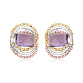 RACHEL GALLEY Sugarloaf Cut Amethyst Earrings (with Clasp Lock) in Rhodium, Rose and Yellow Gold Overlay Sterling Silver 9.300 Ct, Silver wt 7.37 Gms.