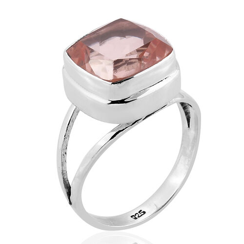 Royal Bali Collection Morganite Quartz (Cush) Solitaire Ring in Sterling Silver 7.853 Ct.